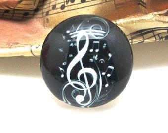2 cabochons glass music black 14 mm - 14 mm