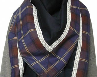 Big shawl/scarf square women Navy blue wool and Plaid patterns trimmed with lace