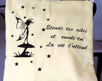 """Embroidered Pillow cover: """"Fairy Star"""" 40cm x 40cm"""