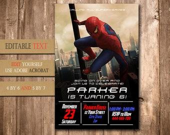 Spiderman Invitation,Spiderman Birthday,Spiderman Birthday Invitation,Spiderman Party,Spiderman Editable,Spiderman, FD