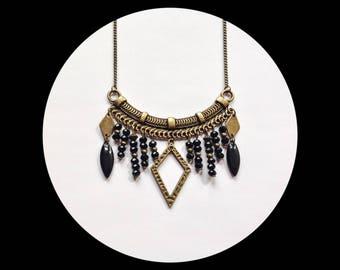 Ethnic bib bronze necklace, black glass beads / boho chic bib