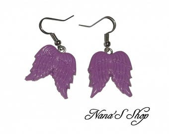 Earrings Angel Wings, Fimo, purple,