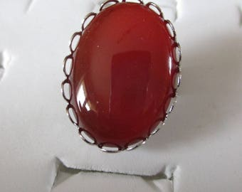 silver backed cabochon Adjustable ring