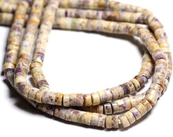 Wire 39cm 131pc Jasper purple and yellow Rondelles Heishi 6 mm - stone beads - approx.