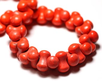 20pc - beads Turquoise synthetic reconstituted bone Orange - 8741140009882 14x8mm
