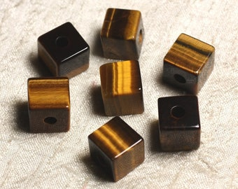 1pc - semi precious - Tiger eye stone pendant Cube 4558550013675 15 mm