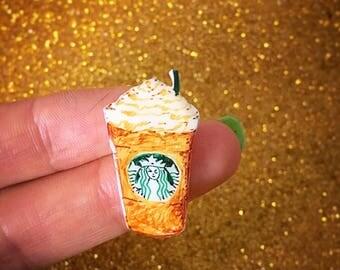 Starbucks Coffee Frappuccino Pin - Handmade - Shrink Plastic Brooch