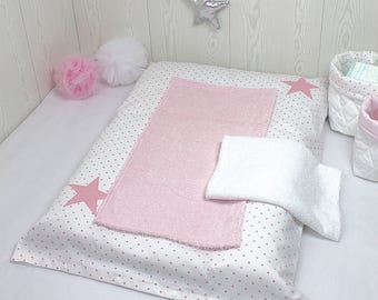 Changing pad cover, white with pink hearts