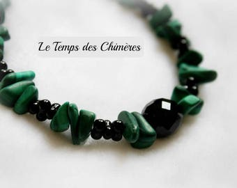 Black and green stone bracelet semi precious malachite and Black ceramic beads