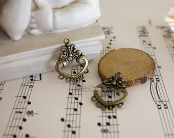 2 bronze chandeliers earrings heart filigree 26.5x18.5mm MS02555