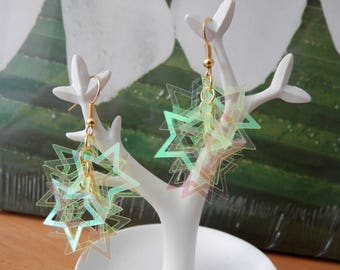 light starry brass coins neon earrings