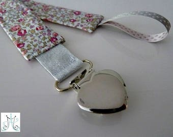 Pacifier clips heart - Liberty Eloise pink