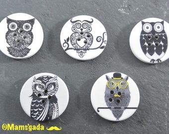 Set of 5 large buttons wood sewing/Scrapbooking Collection OWL OWL REF:BO 30 mm / 16