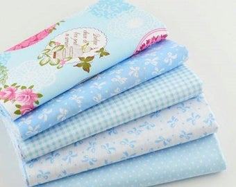 Set of 5 blue and white patchwork fabrics