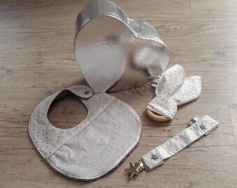 Bavoir attache tetine et anneaux de dentition en kit cadeau pour bébé tissus de coton pailleté