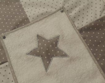 Changing mat cotton with 2 towels gray and white star pattern snap cover