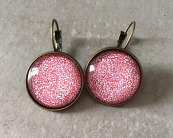Red - Earrings sleepers bronze cabochon glass 20mm