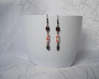 """Earrings """"floral leaf 3"""" paper and Pearl"""