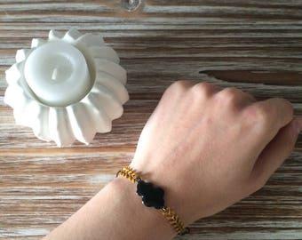 Bracelet black cloud and mustard herringbone chain