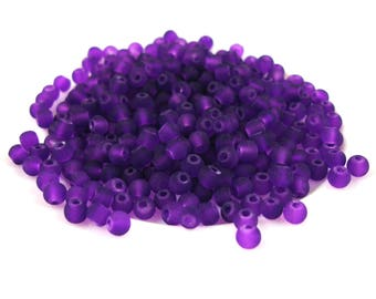 200 beads in frosted 4 mm plum colored glass