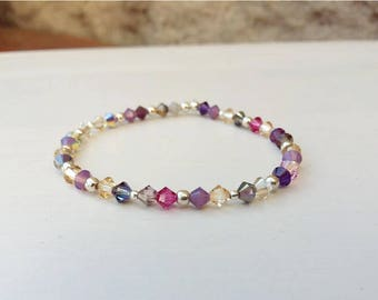 Swarovski crystal beaded bracelet and 925 sterling silver beads. Jewel unique by Dear Lisa jewelry
