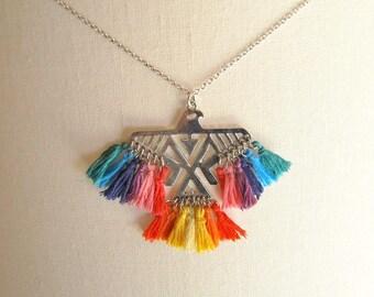 Phoenix bird pendant necklace on a chain tassel long necklace silver hippie Brasilda Phoenix