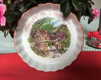 """Country house"" deco tart/pie dish"