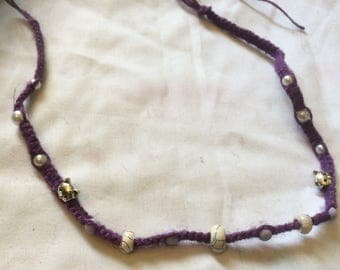 Purple Hemp Necklace with White Turquoise Gemstone and Cats