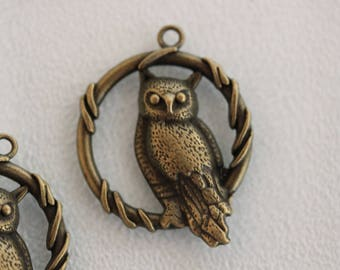 bronze metal OWL charm