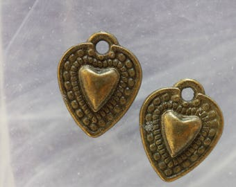 Set of 2-tone heart charms bronze