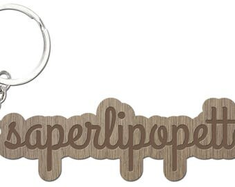 WHOOPSIDAISIES laser cut wooden keychain