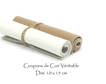 Coupons in genuine leather 2 - 10 x 15 cm / Ep. : 1.5 mm - color white and Café au lait