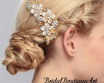 Vintage Inspired bridal hair comb,Wedding hair comb,Gold hair comb,charming hair comb,luxury hair comb,bridal hair accessories