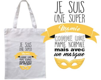 "TOTE BAG 100% cotton ""I'm Grandma what's your super power?"""