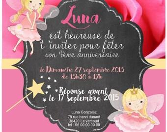 """Little fairy"" custom birthday INVITATION"