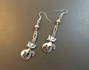 Earrings silver cats