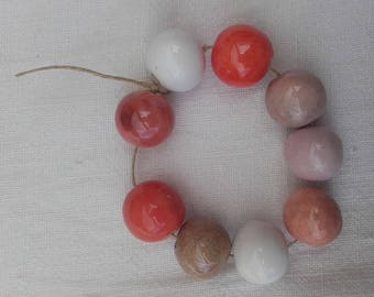 shades of pink ceramic beads