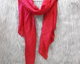 Silk hand-dyed scarf - PINK