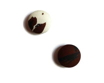 Magnets, Brown, white, black, magnets, fabric, set of 2 magnets