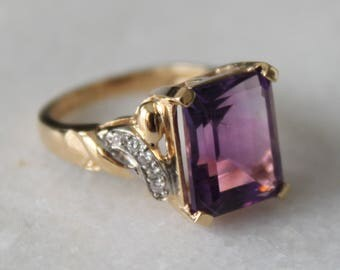 Emerald Cut Amethyst and Diamond Vintage Cocktail Ring | 14k Yellow Gold | Size 7.25