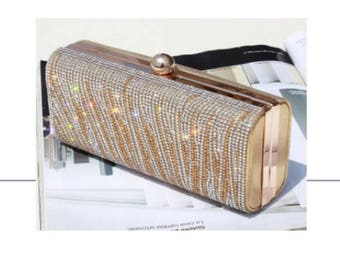 Gold & Silver Party, Formal Event, Wedding Rhinestone Clutch Evening Bag