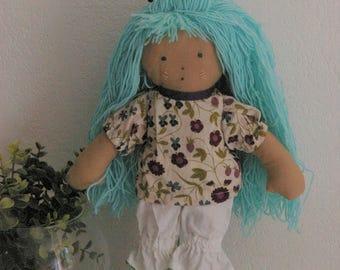 Hair clip blue rag doll