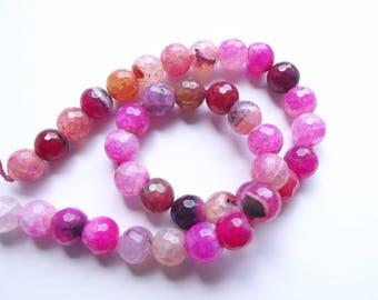 37 perles rondes facettées en agate veine de dragon teintée rose 10 mm NELA-908