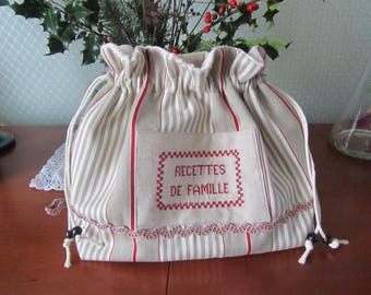 """""""Family recipes"""" striped canvas pouch bag"""