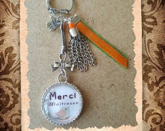 "Glass cabochon key ring / jewelry bag ""Thank you teacher"""