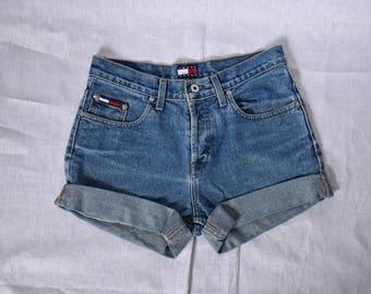 "Tommy Hilfiger Vintage Cuffed Denim Shorts Waist 29"""