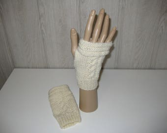 off white wool mittens