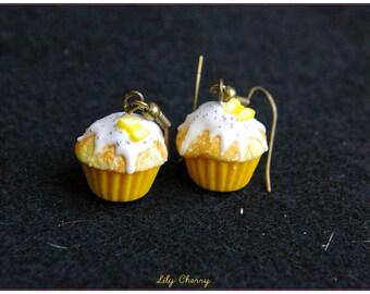 Earring dangle lemon yellow cupcake Fimo polymer clay