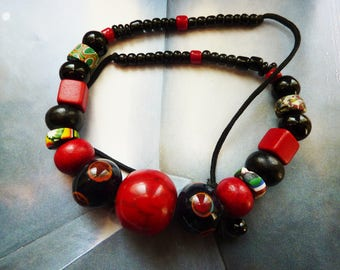 Ethnic necklace ceramic and glass beads