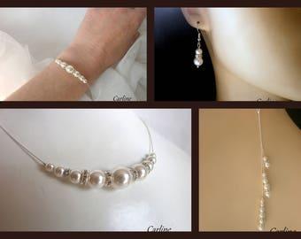 Romance - Set 4 PCs Swarovski Crystal rhinestones and pearls pearly white silver